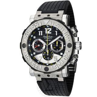 Paul Picot Men C Type Black Dial Black Rubber Strap Titanium Watch