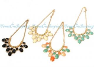 Colors Fashion Golden Chain Acryl Resin Oval Beads Pendant Necklace