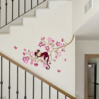 Newly listed Z Monkey Pink Flower Blossom Tree Reusable Wall stickers