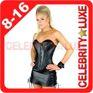 PVC Faux Leather Corset Costume Burlesque Moulin Rouge w Mini Skirt