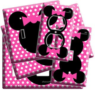 MOUSE HEAD PINK POLKA DOTS KIDS GIRLS ROOM DECOR LIGHT SWITCH OUTLET
