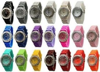 NEW Geneva Different Colors Large Face SILICONE RUBBER JELLY WATCH