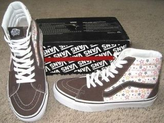 NEW VANS SHOES STAR SPANGLED ESPRESSO 9.5 M 11 W SK8 HI