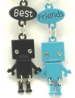 New Best Friend Robot Charm 2 Pendant 2 Necklace Blue/Black BFF
