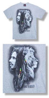 New Bob Marley Lion Ra​sta Cross Ash Grey Small T shirt