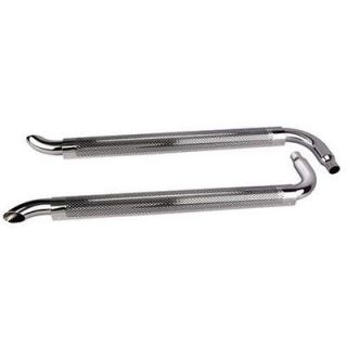 New Chrome 70 Side Exhaust Pipes w/ Mufflers, 2 1/4 ID Inlet, 3 OD