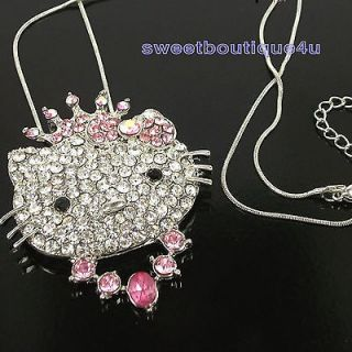 HELLOKITTY PRINCESS KITTY PINK CRYSTAL CROWN NECKLACE PENDANT FOR GIFT
