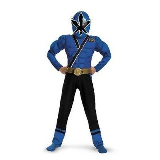 Power Rangers Blue Samurai Muscle Child Costume Size 7 8 Disguise