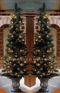 New Set of 2 42 Pre Lit TOPIARY Prelit Lighted Mini CHRISTMAS TREE