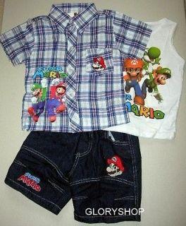 New SUPER MARIO Boys Shirt,Singlet & Shorts 3 Pcs Set Size 5, More