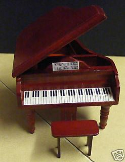 Wooden Piano & Stool Dolls House Miniature Instrument Accessories