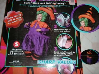 WITCH HALLOWEEN COSTUME CHILD SMALL 3 5 GIRL BODY BALLOON NEW