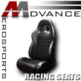 Leather Sport Racing Bucket Seat+Sliders Nissan (Fits Nissan Armada
