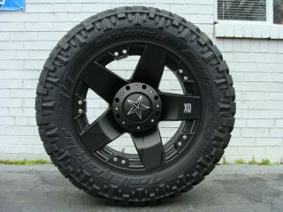 20 XD ROCKSTAR Black 295/55R20 Nitto Trail MT 33 mud tires Dodge