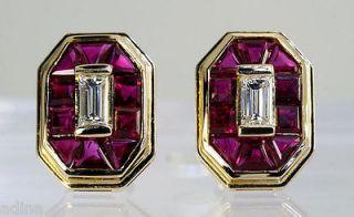 70CT BAGUETTE DIAMOND & CHANNEL RUBY 18K YELLOW GOLD EARRINGS