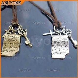 Retro Vintage Charm Love Letter with Cross Key Necklace pendant