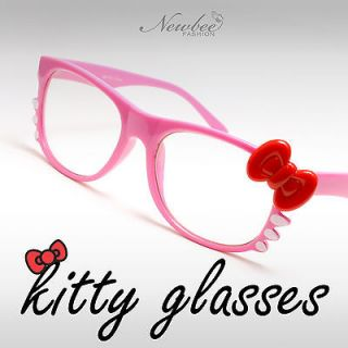 Pink Hello Kitty Style Glasses Non Prescription Lenses Bow and