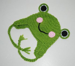 Custom Frog Hat Baby Boy Girl Ear Flap Hat Photo Prop Newborn
