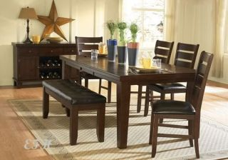 6pc dark oak finish wood dining table set bench chairs