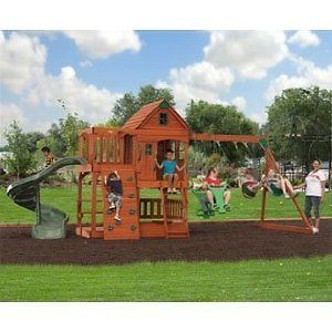 new all cedar outdoor play set swing swing set wooden