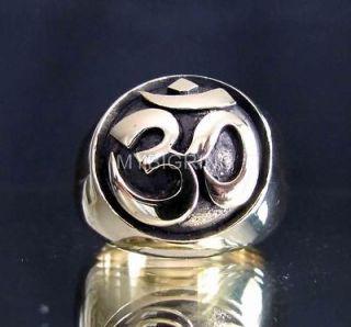 bronze yoga ring om ohm symbol buddhism buddha aum gift