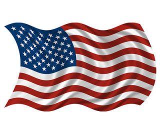 American Waving Flag USA Old Glory Car Vinyl Window Bumper Sticker