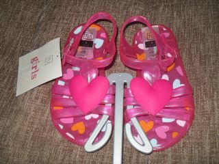 Toddler Girls Pink Jelly / Beach Shoes * Heart Motif * Infants Size 5