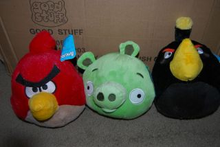 NEW SET OF 3 ASSORTED ANGRY BIRDS 8 PLUSH RED BLACK PIG