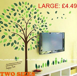 Extra Large Green Tree Wall Stickers REMOVABLE Vinyl Art Decals Home