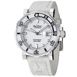 Paul Picot Mens Yachtman White Dial White Rubber Strap Watch P1151.B