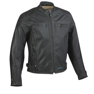 HALVARSSONS QUARTER CLASSIC MENS BLACK LEATHER MOTORCYCLE JACKET HI