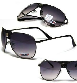 Aviators Mens Womens Black Leather Strap Sunglasses Metal Frame