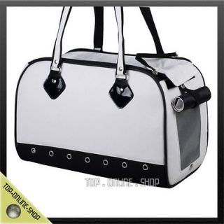 Up to 10lbs Pet Dog Cat Rabbit White Canvas Bag Carrier Crate Tote