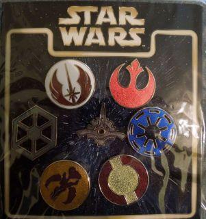 New Disney Star Wars Icon/Emblems 7 Pin Lanyard Booster Set