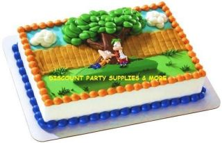 phineas ferb agent p cake kit decoration topper set time