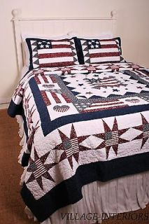 PATRIOTIC AMERICANA RED WHITE & BLUE GREAT AMERICAN FLAG QUEEN COTTON