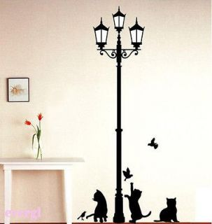 Cat Bird Removable Wall Sticker Decal Kids Boys Girls Room Home Decor