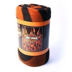 listed Harley Davidson Orange Flames Fleece Blanket Throw 50x 60
