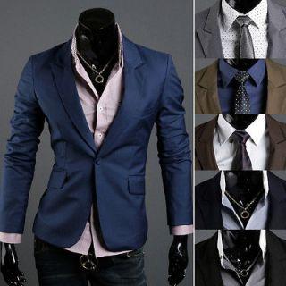 KOREAN Mens Premium Slim Fit Spandex Jacket Button Blazer HTR   XS/S/M