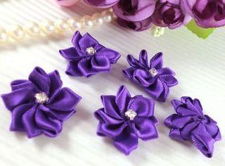 25 Satin Ribbon Flower Rhinestone Appliques~Dark Purple~Dress/Wedding