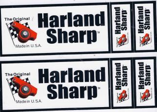 Harland Sharp Racing Decals Sticker Sheet of 3 New 8 1/2 Inch Long