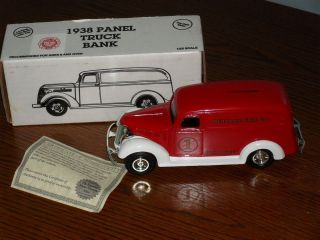 1938 ertl die cast metal chevy panel truck bank perkasie