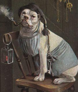 Old English Bulldog w Keys Night watch dog smokes Pipe Pitbull