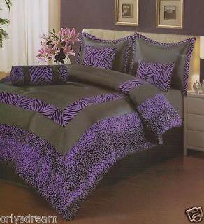 Pcs QUEEN Size Comforter Set,PURPLE & Black ZEBRA & LEOPARD