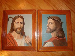 TWO VINTAGE JESUS PAINT BY NUMBER RELIGIOUS PICTURES MID CENTURY RETRO
