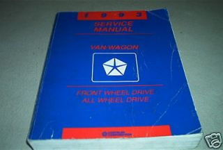1993 Dodge Ram Van Wagon Service Repair Shop Manual FACTORY OEM BOOK