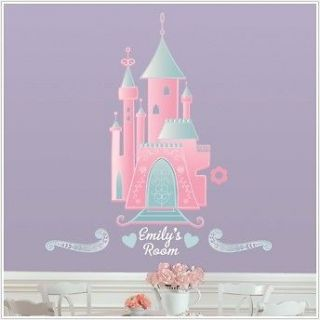 New DISNEY PRINCESS CASTLE WALL DECALS w/ Name Baby Nursery Stickers
