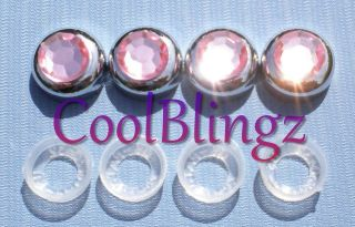 BABY PINK Crystal Bling Rhinestone Screw Caps Covers for License Plate