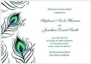 100 Personalized Peacock Feather Wedding Invitations Set / RSVP