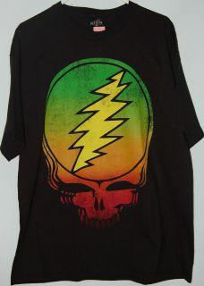 Grateful Dead Rasta Colors Steal Your Face Skull Logo T Shirt tee
